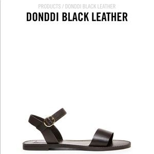 Steve Madden Donddi Black Leather Sandals